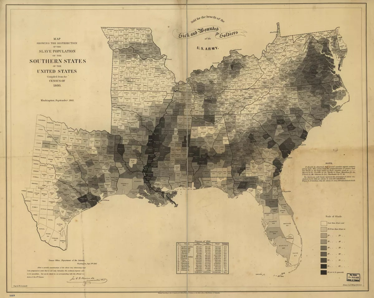 A 1860 map slowing the Distribution of the Slave Population of the Southern States of the United States
